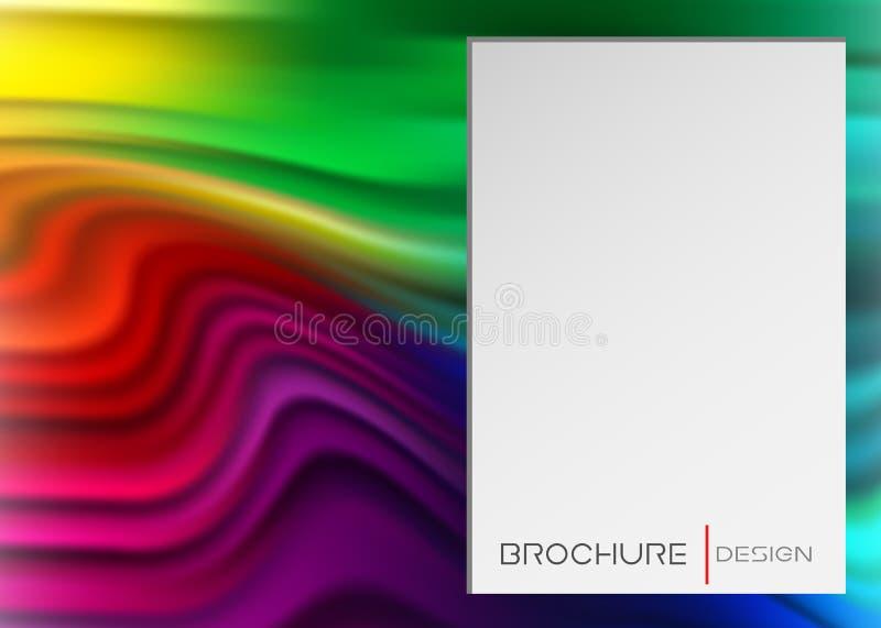 彩虹横幅、墨水或者刷子冲程 液体形状,摘要可变的软的作用 与波形的五颜六色的梯度墙纸 库存例证