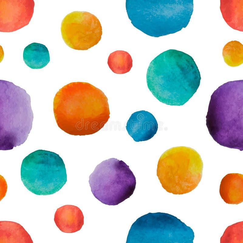 彩虹水彩圆点样式 明亮的与五颜六色的圈子的水彩无缝的样式 水彩彩虹 向量例证