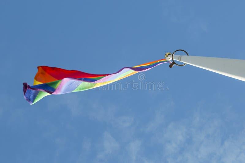 彩虹沙文主义情绪在风 库存图片