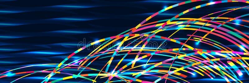 彩虹波浪海横幅RGB 库存例证