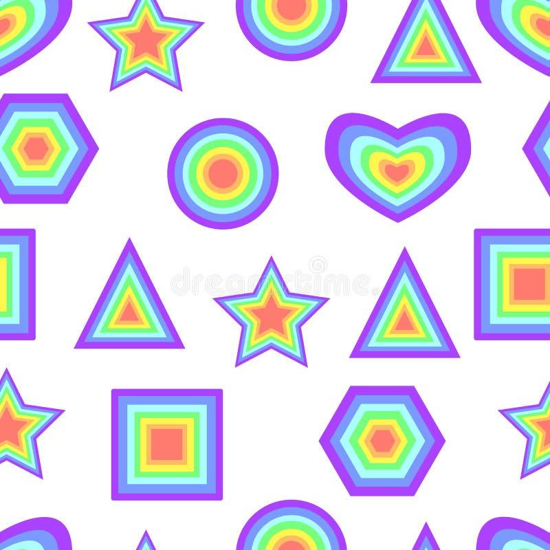 彩虹淡色摘要几何形象无缝的样式 皇族释放例证