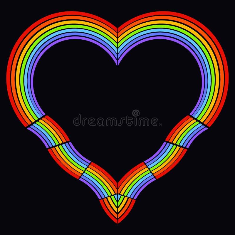 彩虹的七个颜色的心脏在黑背景的,框架 库存例证