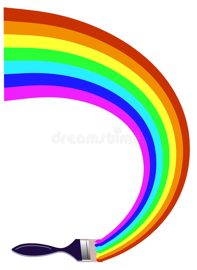 画彩虹的油漆刷 库存例证