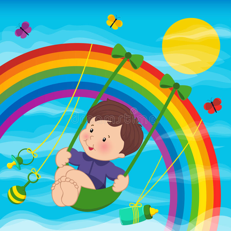 彩虹的婴孩 库存例证