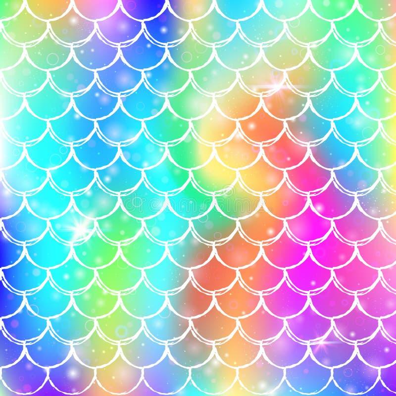 彩虹称与kawaii美人鱼公主样式的背景 皇族释放例证