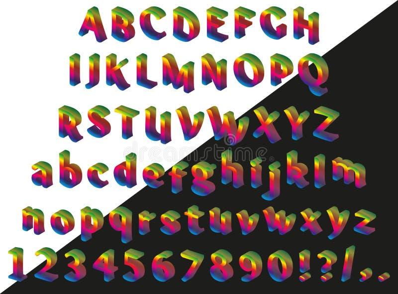 彩虹等量字体 库存例证