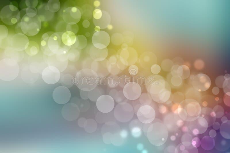 彩虹背景 与defocused bokeh光的摘要新生动的五颜六色的幻想彩虹背景纹理 o 库存例证