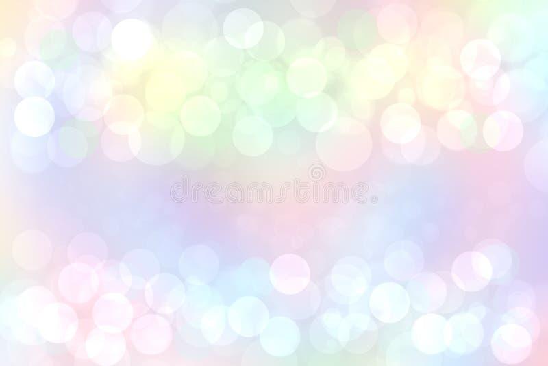 彩虹背景 与defocused bokeh光的摘要新精美淡色生动的五颜六色的幻想彩虹背景纹理 向量例证