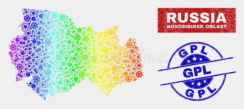 彩虹色的工厂新西伯利亚地区地图和被抓的GPL邮票 向量例证