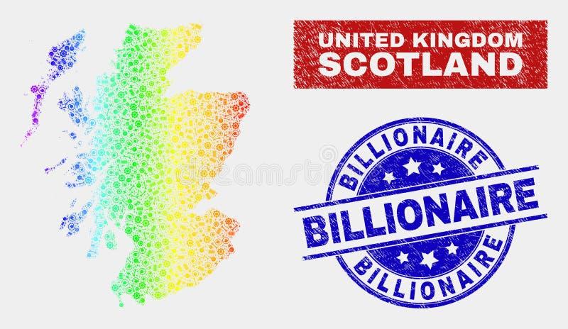 彩虹色的建筑苏格兰地图和被抓的亿万富翁封印 向量例证