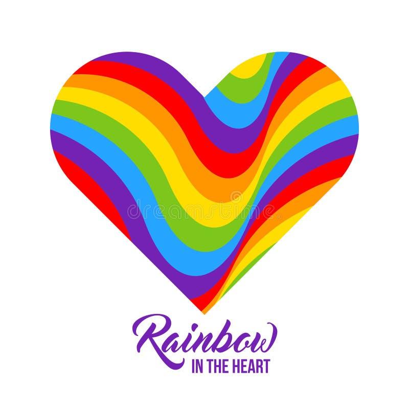 彩虹色的心脏, LGBT颜色 库存例证