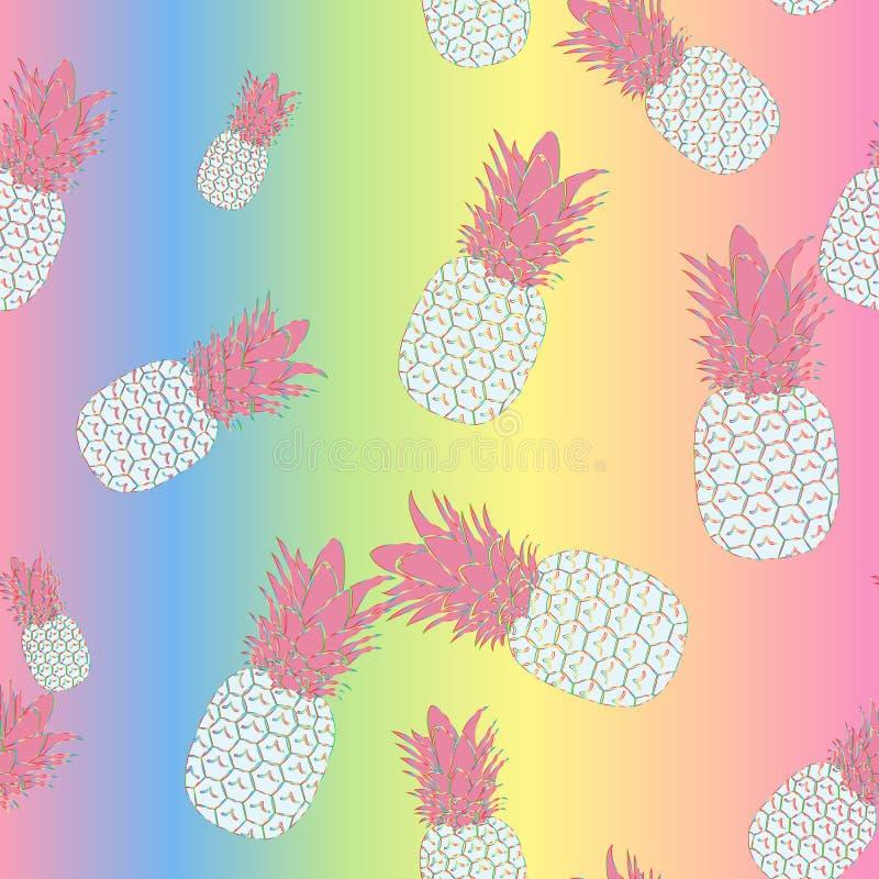 彩虹菠萝的无缝的热带样式在明亮的梯度背景,传染媒介的 向量例证