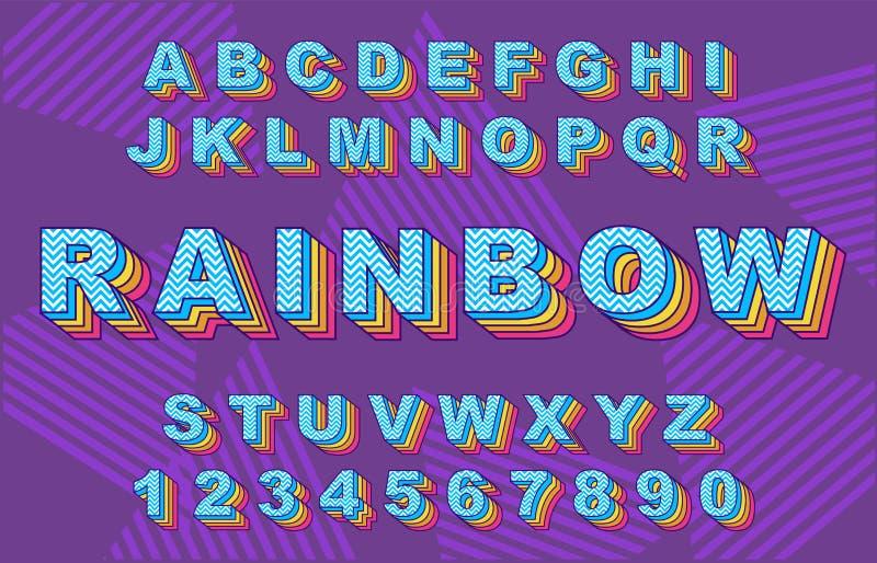 彩虹葡萄酒字母表 向量例证