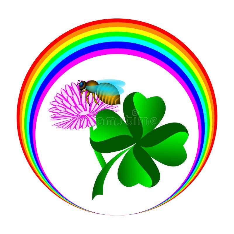 彩虹蜂和四片叶子三叶草 向量例证