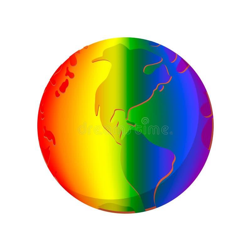 彩虹行星动画片象 向量例证