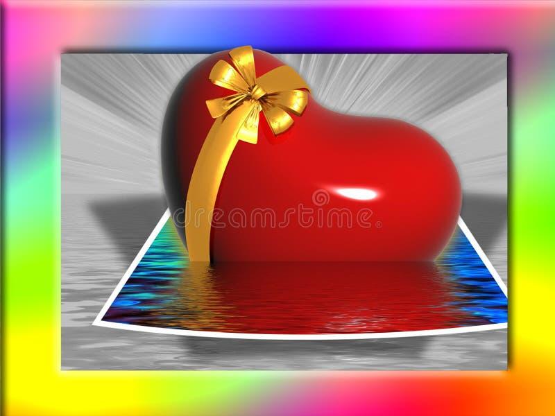 彩虹被构筑的心脏在水中 免版税库存照片