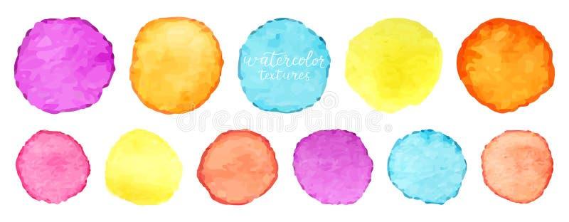 彩虹被设置的水彩圈子 传染媒介水彩设计的圈子元素 水彩盘旋背景 向量 向量例证