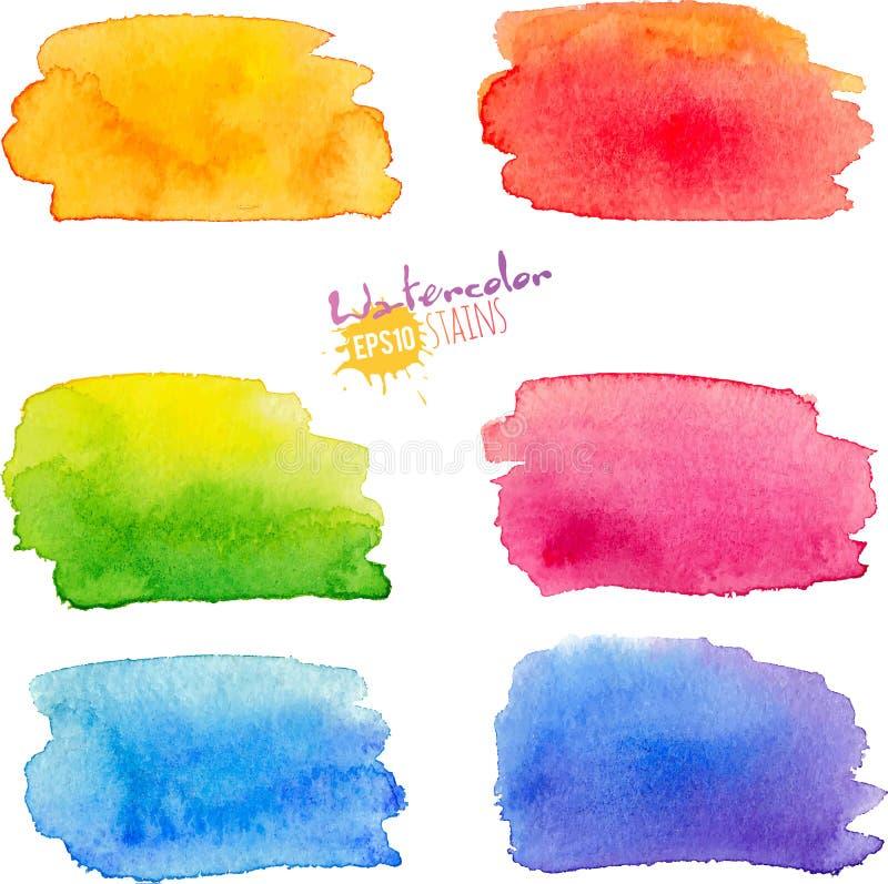 彩虹被设置的水彩污点 库存例证