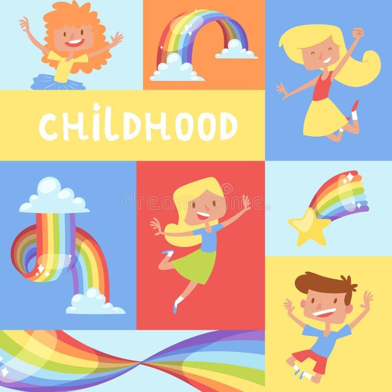 彩虹跳跃的孩子童年海报明亮的五颜六色的天空图表儿童天气传染媒介例证 光谱曲线 皇族释放例证