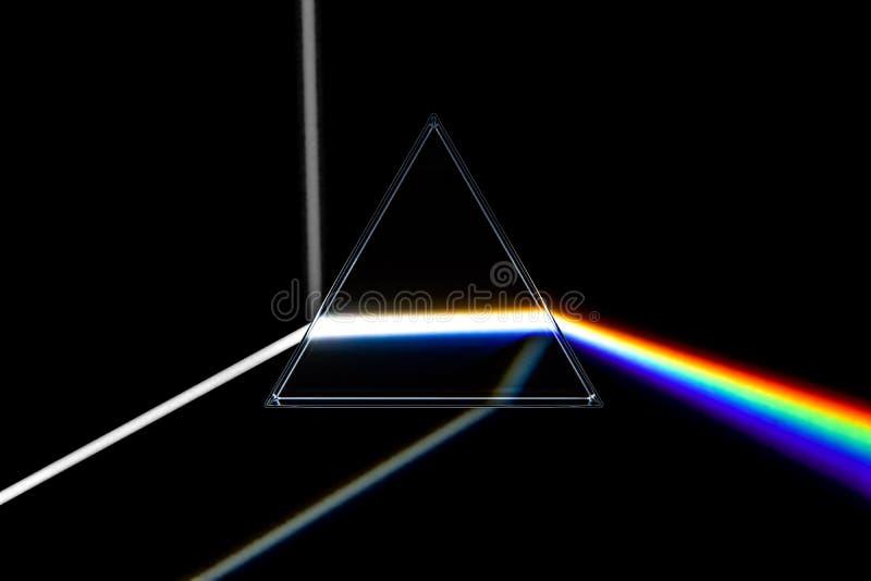 彩虹轻的棱镜 与可见光的光学玻璃金字塔 库存例证