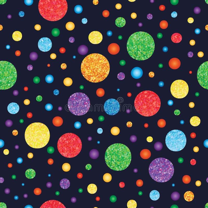 彩虹闪烁圈子无缝的样式 库存例证