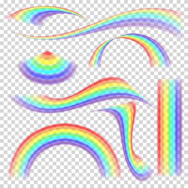 彩虹集合传染媒介 另外形状收藏 在透明背景隔绝的现实彩虹集合 向量例证
