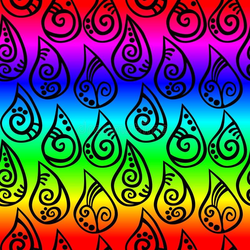 彩虹雨投下无缝的样式 向量例证