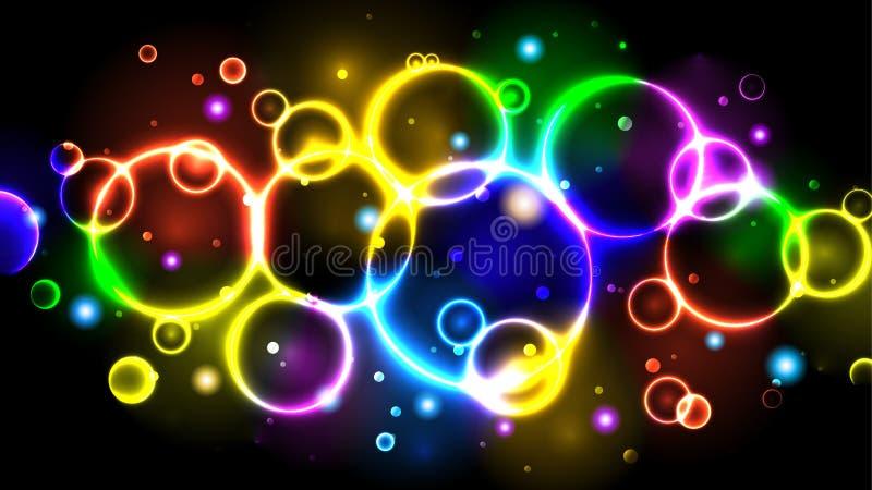 彩虹霓虹颜色明亮的泡影,与圈子,闪闪发光,bokeh的抽象多色背景 向量例证