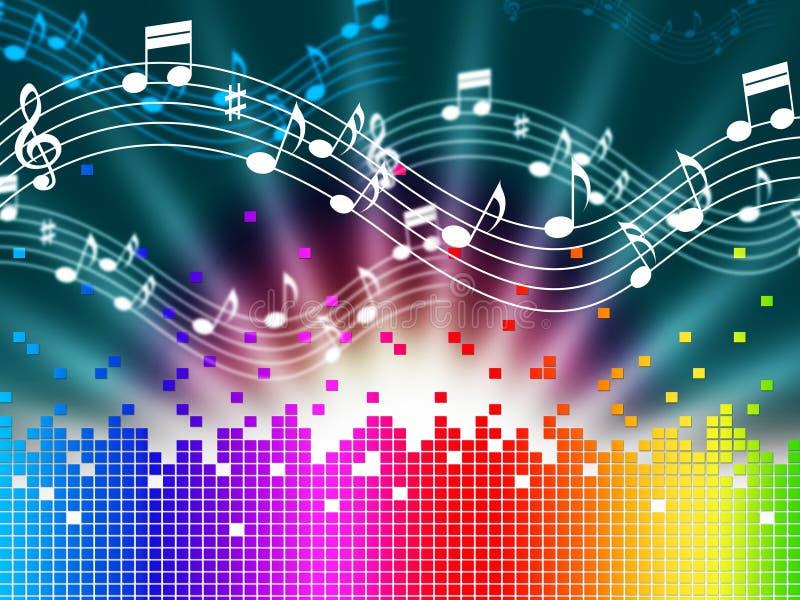 彩虹音乐背景意味曲调唱歌和Soundwaves 库存例证