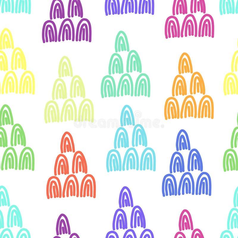 彩虹颜色乱画与弧形状的样式 库存例证