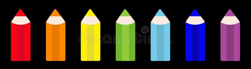 彩虹颜色铅笔象集合线 回到学校卡片 r   ?? 库存例证