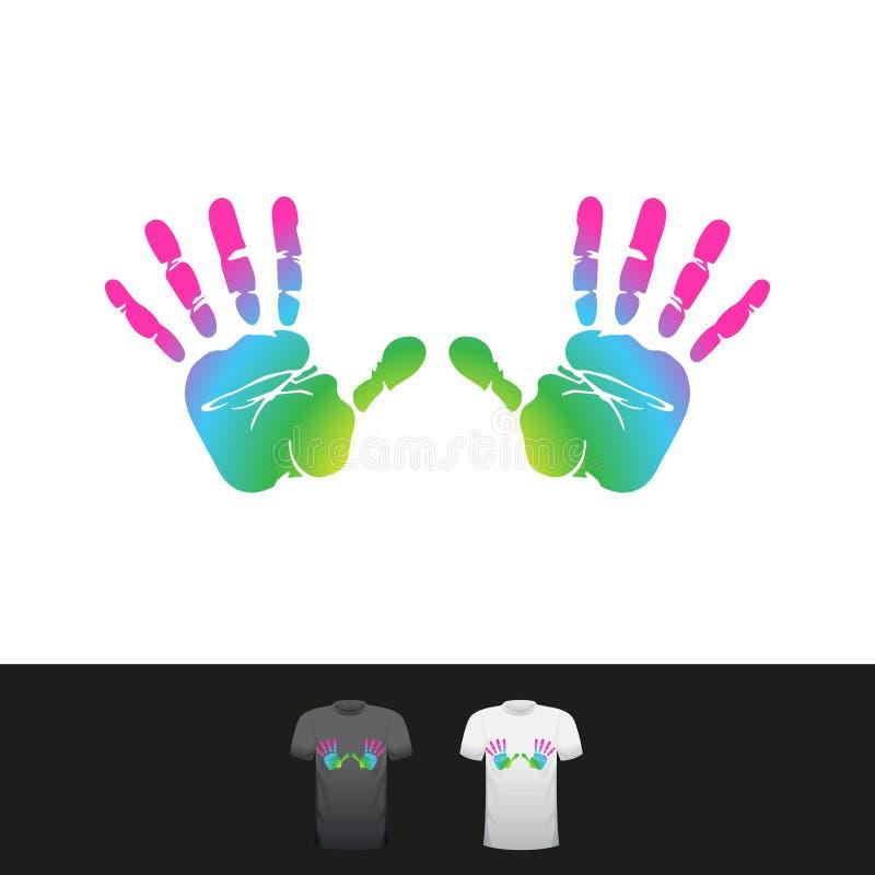彩虹颜色handprints 皇族释放例证