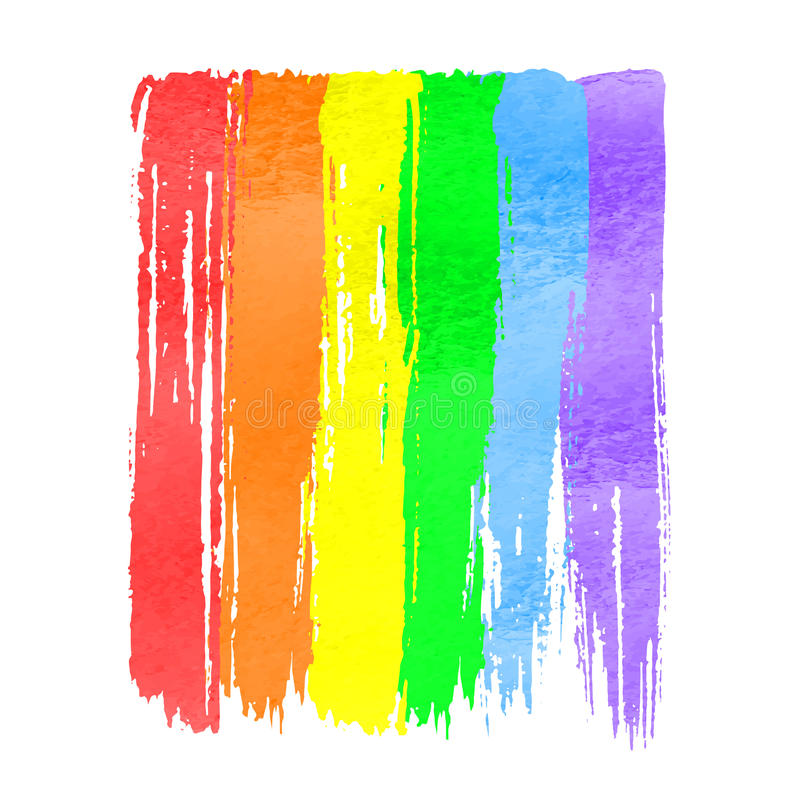 彩虹水彩手拉的油漆 皇族释放例证