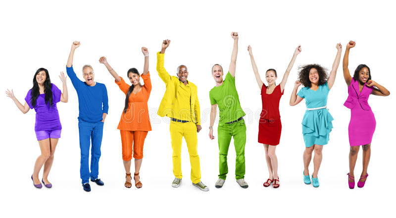 彩虹主题的不同种族的人民 图库摄影