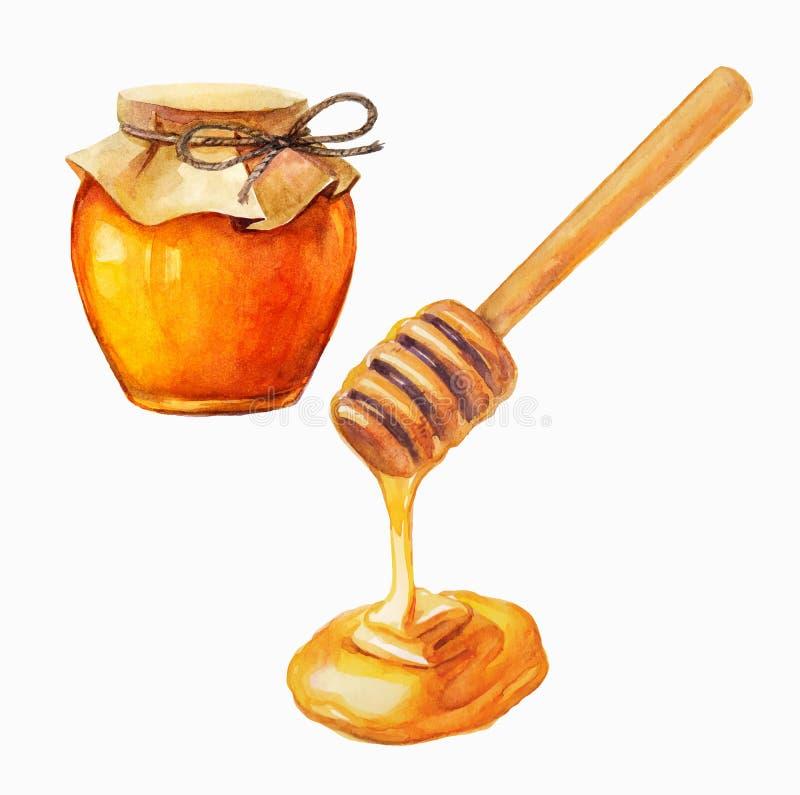 水彩蜂蜜瓶子和蜂蜜棍子 库存例证