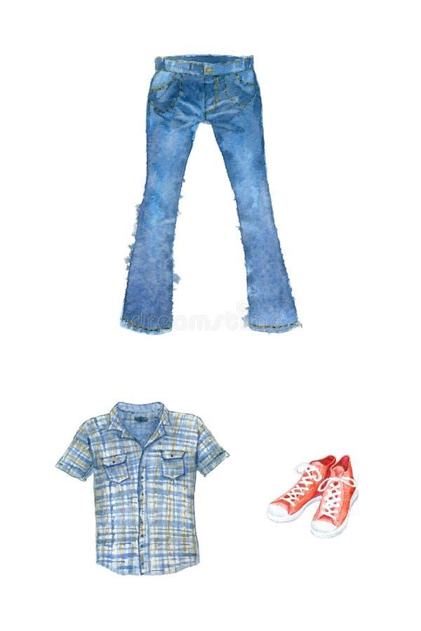 水彩衣物和鞋类 皇族释放例证