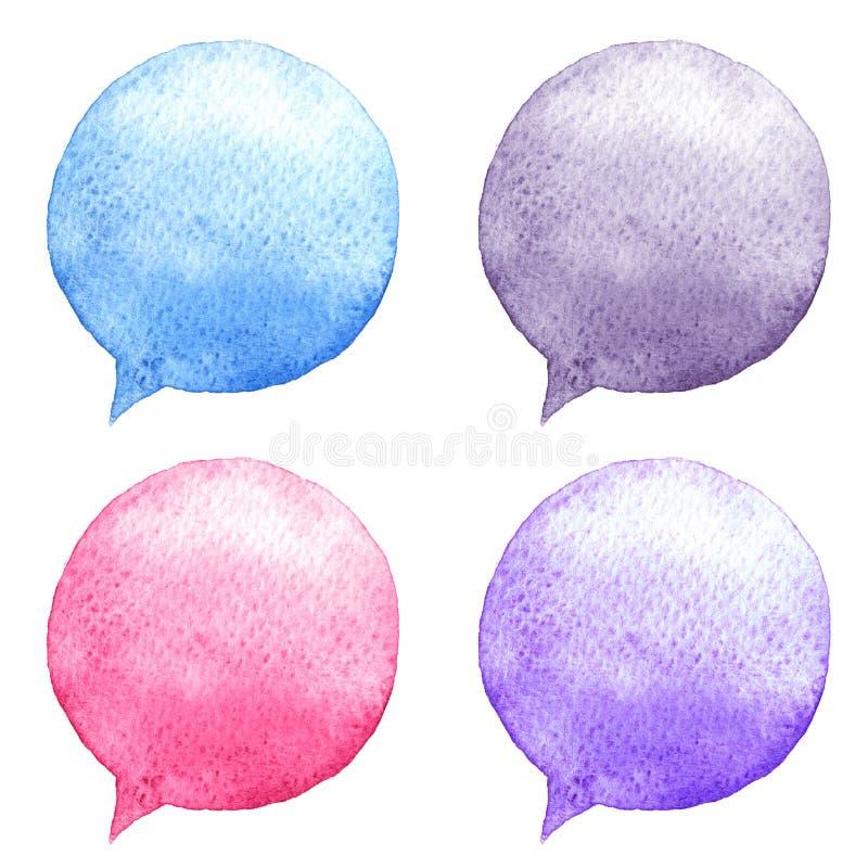 水彩被设置的讲话泡影 拉长的表面现有量例证s妇女 社会媒介象 向量例证