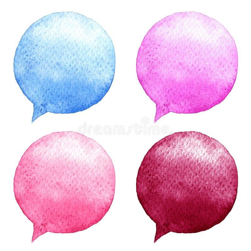水彩被设置的讲话泡影 拉长的表面现有量例证s妇女 社会媒介象 皇族释放例证