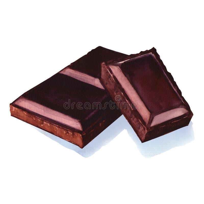 水彩被隔绝的巧克力块 库存例证