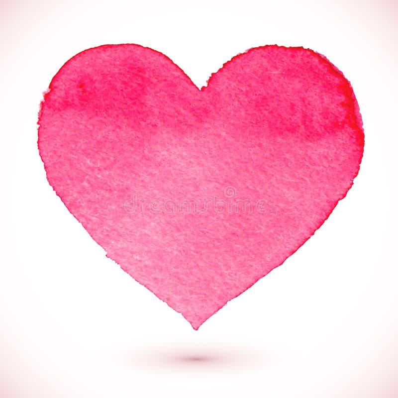 水彩被绘的桃红色心脏 库存例证