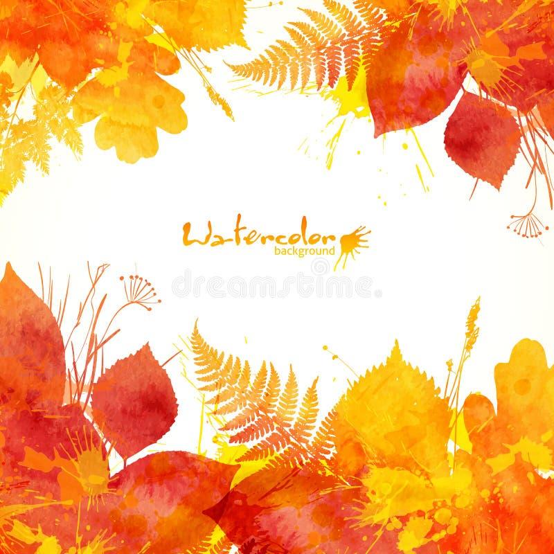 水彩被绘的秋叶传染媒介背景 库存例证