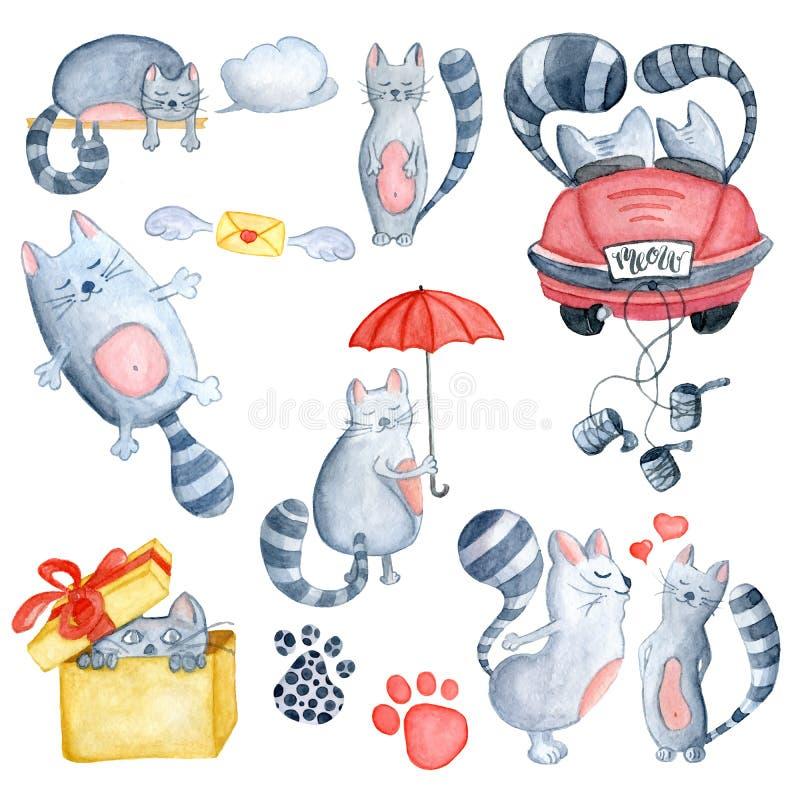 水彩设置与爱夫妇猫 向量例证