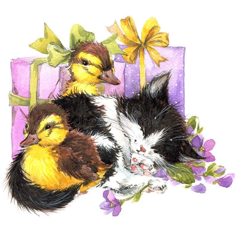 水彩逗人喜爱的小猫和一点鸟、礼物和花背景 皇族释放例证