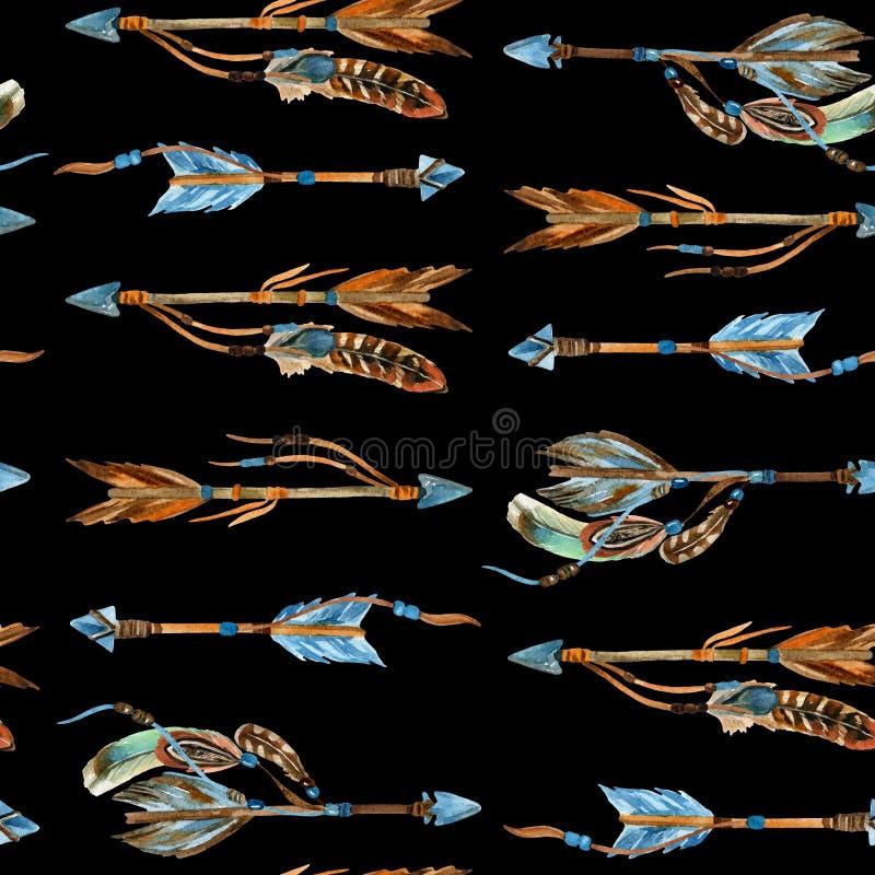 水彩部族箭头无缝的样式 库存例证
