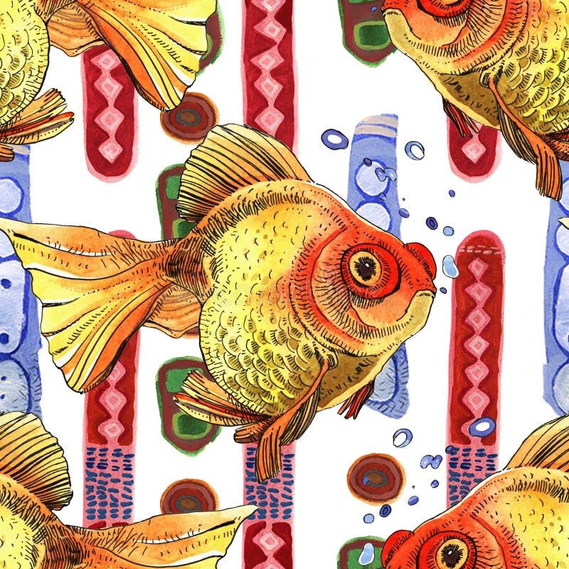 水彩金黄鱼,概述手画图画  向量例证