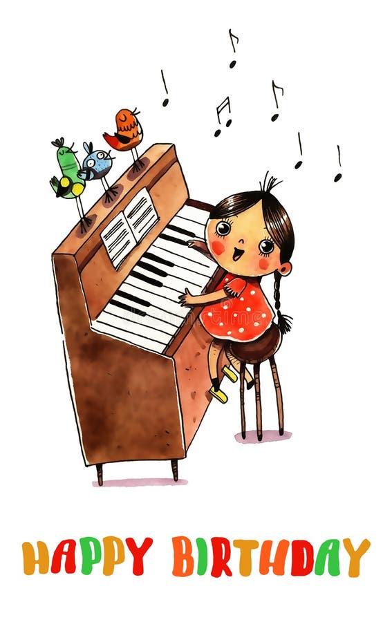 水彩钢琴和女孩 库存例证