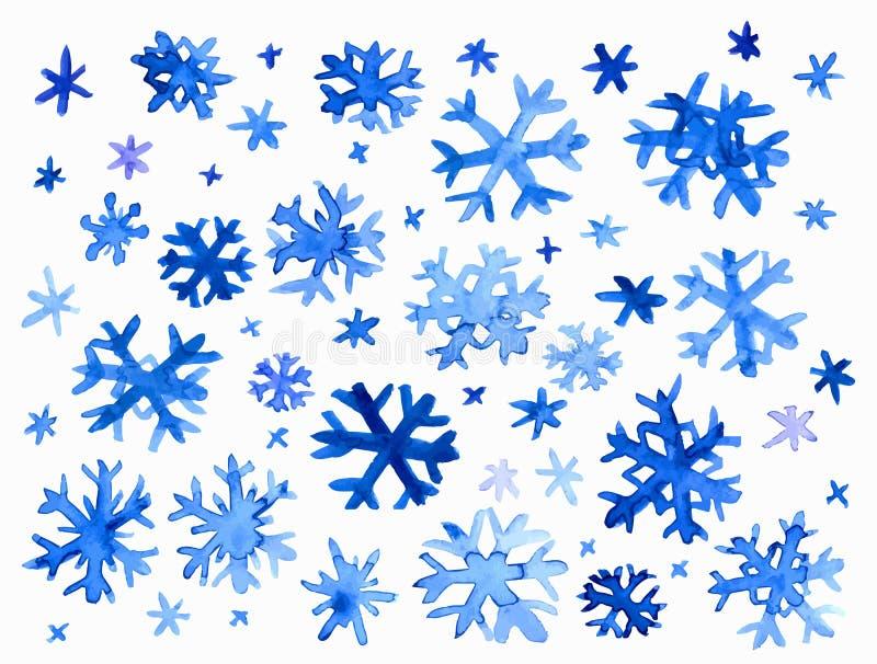水彩雪花 向量例证