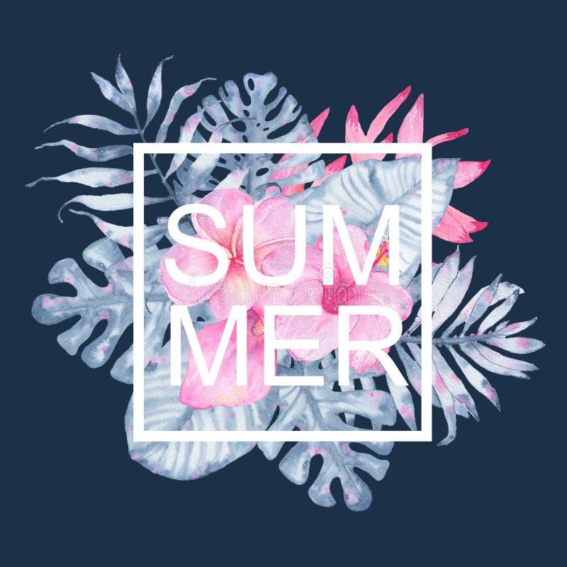 水彩靛蓝棕榈monstera卡片手画热带夏天桃红色水芋属木槿赤素馨花heliconia和叶子  库存例证