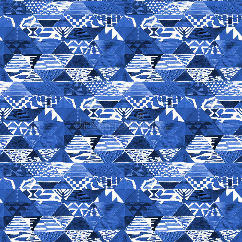 水彩靛蓝蜡染布shobori样式 向量例证