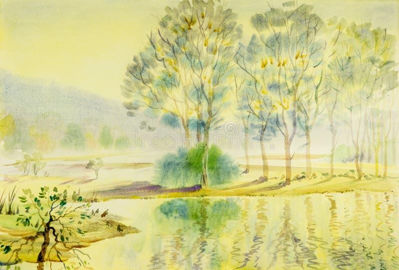 水彩风景原始的绘画五颜六色树、盐水湖和山 向量例证